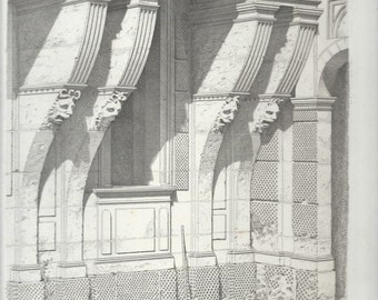 French Architectural Print, Chateau Du Pailly, Henri II