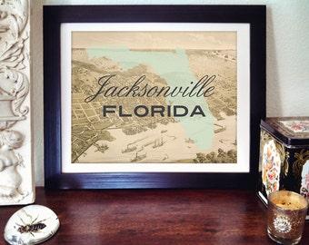 Jacksonville Florida Art Print, Jacksonville Florida Map Print, Florida Print, Jacksonville Art, Florida State Print