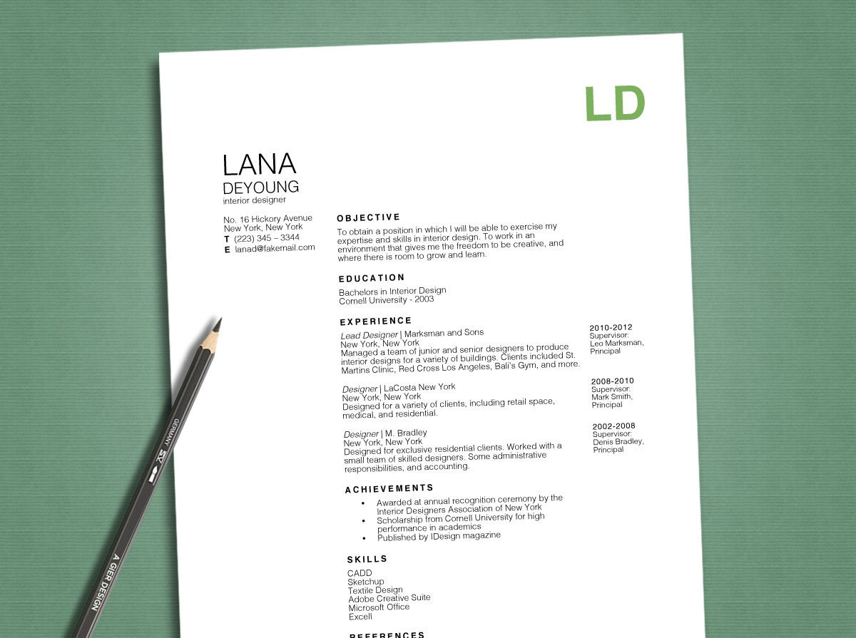 Resume And Cover Letter Word Resume Template Professional