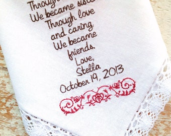 Embroidered Wedding Handkerchief Monogrammed Custom Sister In Law From Bride Heirloom Embroidery Personalized Hankie Gift Hanky