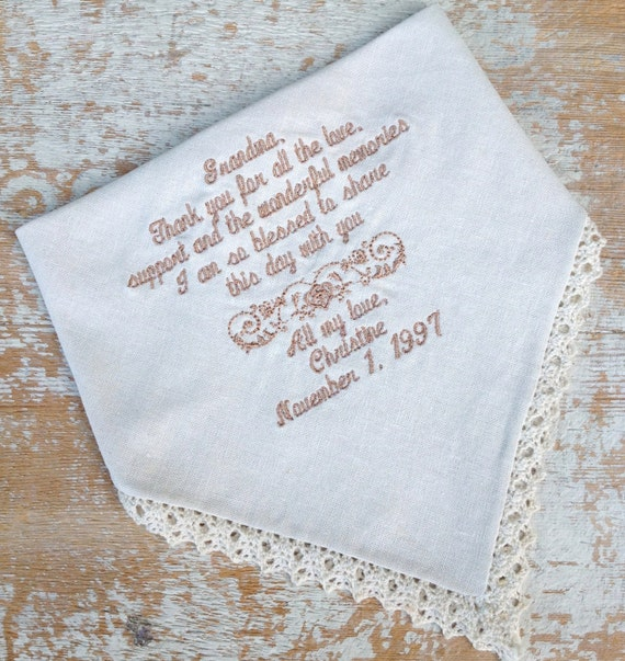 Embroidered wedding handkerchief monogrammed custom