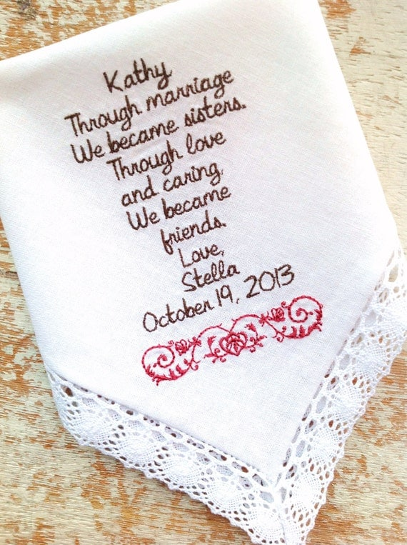 Wedding Gifts Ideas For Sister : Embroidered Wedding Handkerchief Monogrammed custom Sister in Law from ...