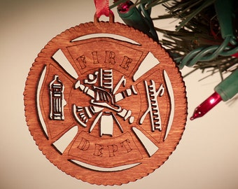 Fire Fighter laser cut ornament; paramedic firefighter