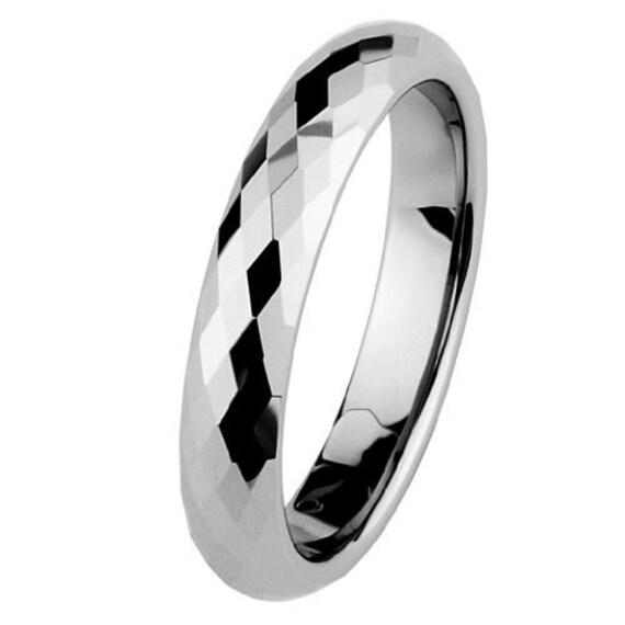 4mm Faceted Cobalt Free Tungsten Carbide COMFORT FIT Wedding