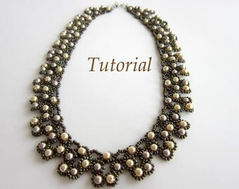 PDF tutorial beaded necklace Platinum seed beads Swarovsky pearl