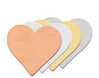 """HEART Metal Stamping Blanks, 3/4"""" Metal Blank Hearts Qty 6 Copper, Deburred Edges, 24 gauge, Heart Pendants, Great for Hand Stamped Jewelry"""