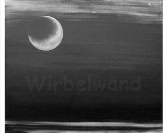 Print of an acrylic painting - Fiery Moon (28 x 24 inch) dark gray colour variation
