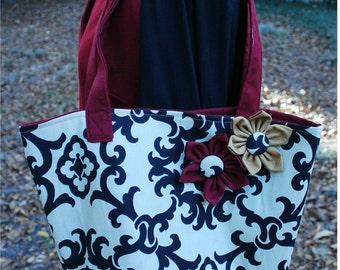FSU Florida State University Seminoles Noles Garnet Gold BlackFlower Tote Bag Purse