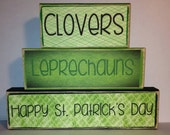 Clovers Leprechauns Happy St. Patrick's Day Decor Blocks Green Wood Stack Set  Personalized Decor - VintageLaceDesign