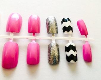 Pink fake nails chevron acrylic nails glitter false nails