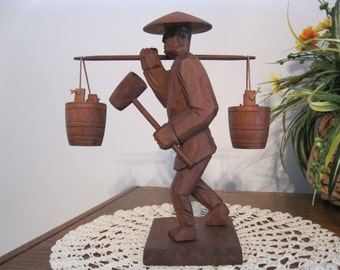 Hand Carved Wooden Asian Man