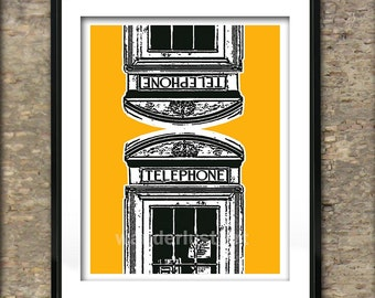 British Phone Boxes Art Print Poster A4 Size Old Style Phone Box England