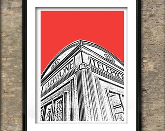 British Phone Box Art Print Poster A4 Size Old Style Phone Box England