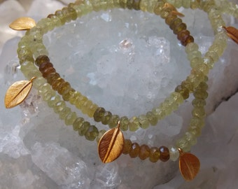 SALE!  24k Gold Vermeil Daphne Necklace with Ombre Garnet Gemstones