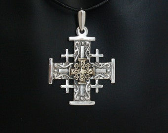 Gold Jerusalem Cross on black leather necklace. Free  shipping.