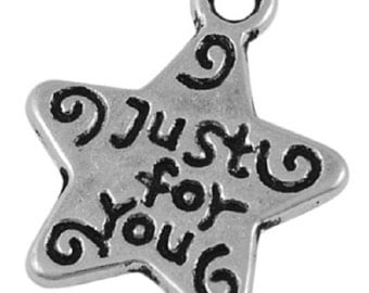 35 x Tibetan Silver - Just For You -  Star Charms 14mm TS23