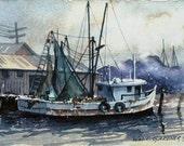 "Charleston, South Carolina - Shrimp Boat Watercolor  Print -  double matted to 8"" x 10"", art, painting, ships"