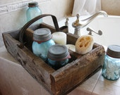 Large Reclaimed Barn Wood and Salvaged Vintage Handle Divided Organizer Box Caddy - PhloxRiverStudio