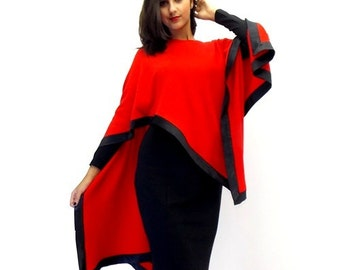 Black Jersey Dress with Red Jersey Poncho Daisy
