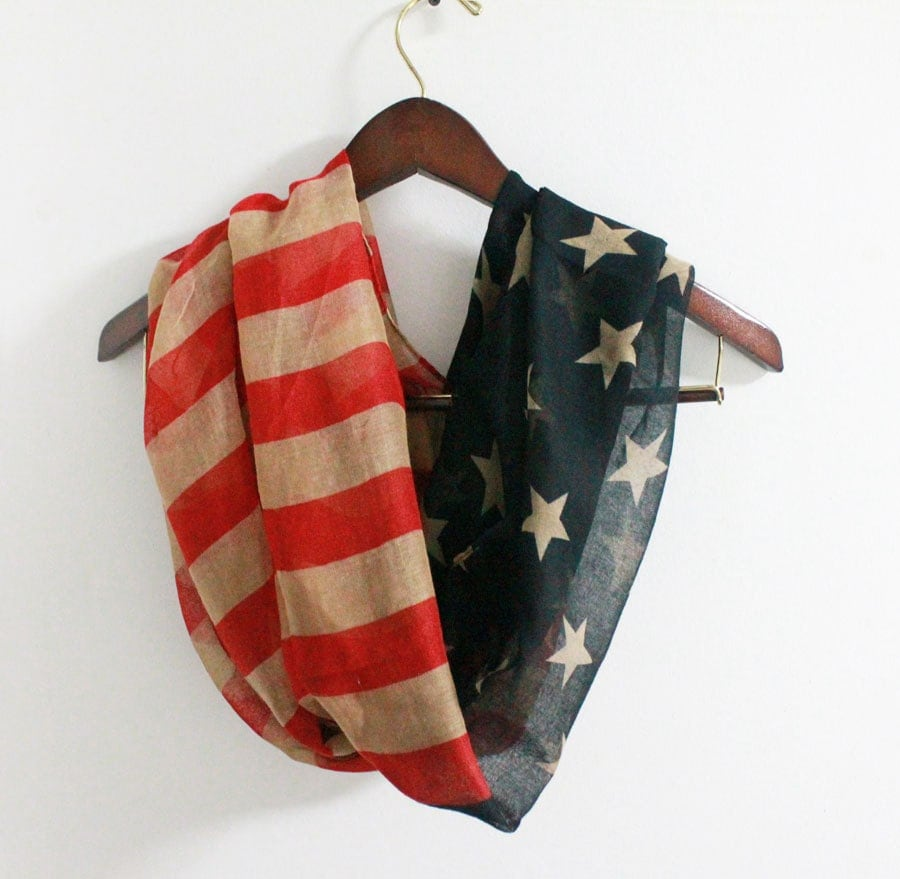 on sale vintage american flag infinity scarf soft and large