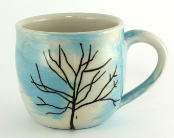 Little Ceramic Mug / Winter Tree Cup No. 4 / Porcelain Tea Cup / Blue and White Pottery