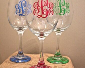 Set of 3 monogram chevron wine glasses