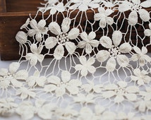 """Cream Cotton Crochet Lace Fabric Floral Lace Fabric Ivory Wedding Fabric Lace 47.2"""" width 1 yard"""