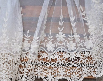 1 Yard Lace Trim Beige Tulle Cotton Floral Embroidered Tulle Lace 19 Inches Super Width