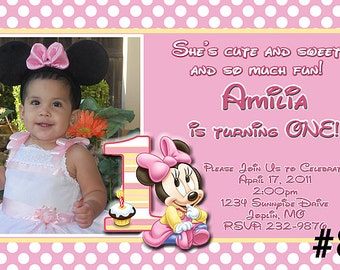 Baby Minnie Mouse First Birthday Invitation Printable Digital File