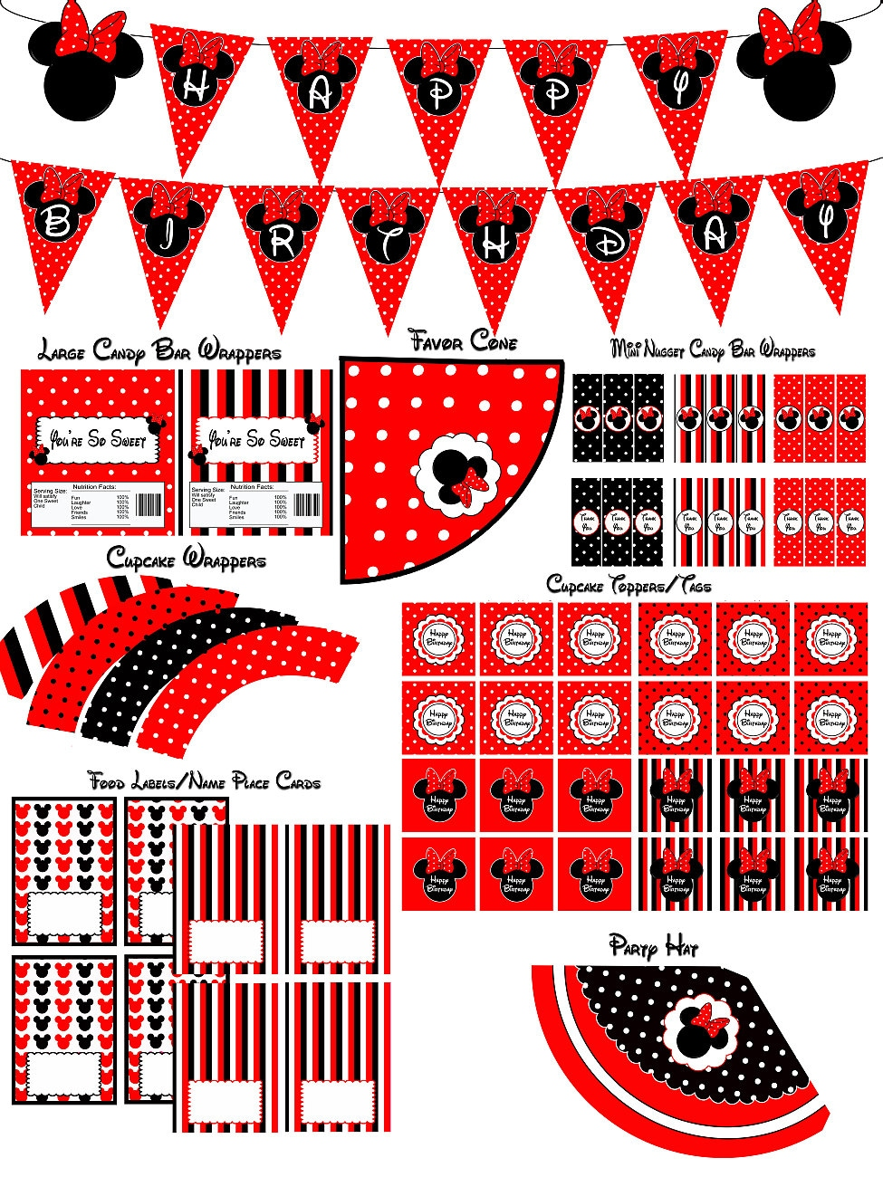 Instant Download Minnie Mouse Red Party Package by LetsPartyShoppe