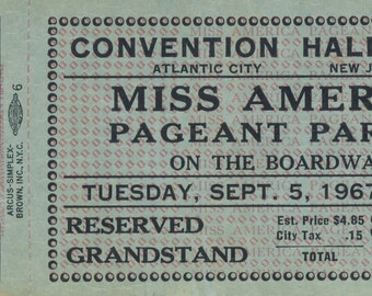 One (1) Unused Mint Miss America Pageant Parade On The Boardwalk Ticket, September 5, 1967 Atlantic City NJ