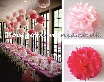 """16 units of 14""""/36 cm. 100% recyclable tissue paper pom poms - handmade - lots of colours to choose from"""