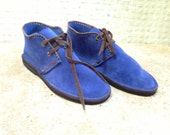 Handcrafted Desert Boot in Blue Suede
