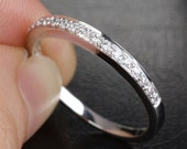 Natural .21ct Pave Diamond Ring Wedding Band in Solid 14K White Gold, Same Day Shipping