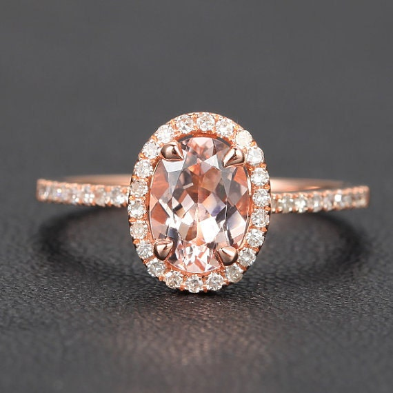 Solid 14K Rose Gold Oval 6x8mm Morganite Engagement Ring .26ct Diamond Halo Morganite Ring, 14k White Gold/Yellow Gold metal available