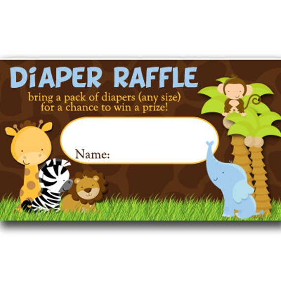 Baby Shower Diaper Raffle: Safari Diaper Raffle Tickets Baby Shower INSTANT By