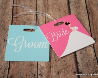 Personalized Set of 2 Bride and Groom Luggage Tags-Double Sided-Wedding Gift-Bridal Shower Gift-Newlywed-Honeymoon Luggage Tags