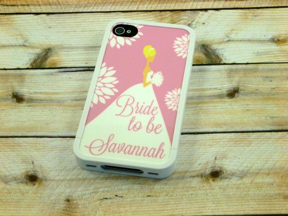 Personalized Bride to be phone case - Iphone 4 - Iphone 4s - Iphone 5 - Bridal shower - wedding party - Unique gift - Pink - Design 07