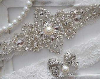 Wedding Garter Set, Bridal Garter Set, Vintage Wedding, Crystal Garter Set