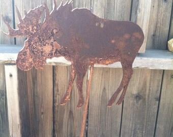 Metal Moose Gardan Yard Stake Decoration   Garden Art   Garden Decor