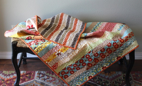 Boho Chic Lap Quilt Or Baby Quilt 100 Cotton Hand Sewn