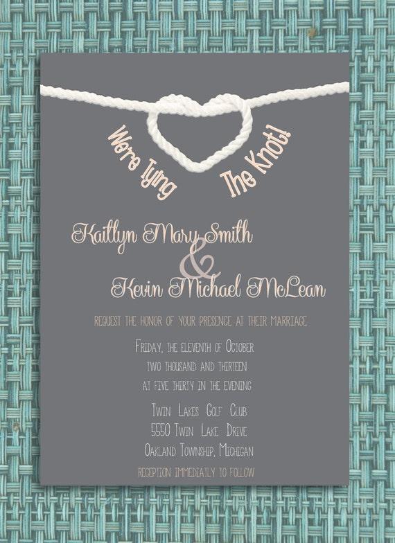 tying the knot wedding invitation diy by wiselilowldesigns