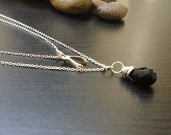 Dainty Stone Necklace with Wishbone -Two Strands- Sterling Silver