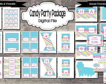 Candy Birthday Party Package for Sweet Shop - Digital, Editable, Printable File - Instant Download