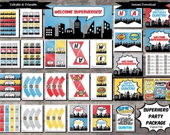 Superhero Birthday Party Package Comic Style - Digital, Editable, Printable File - Instant Download