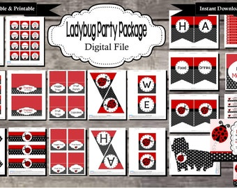 Ladybug Birthday Party Package - Digital, Editable, Printable File - Instant Download