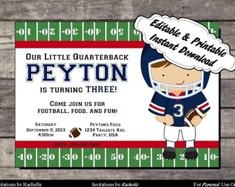 Football Invitation Birthday Party Red and Blue - Editable Printable Digital File with Instant Download