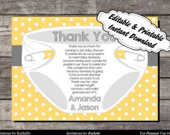 Diaper Thank You Card for Baby Shower or Diaper Bash (Yellow) - Editable Printable Digital File with Instant Download