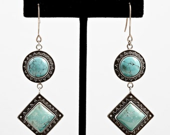 Turquoise 108 - Earrings - Sterling Silver & Turquoise