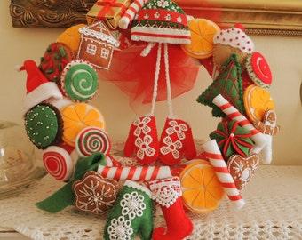 Christmas Wreath, Felt Wreath, Felt Home Decor, Christmas Party Decor, Christmas Decoration, Felt Decoration, Christmas Ornament, Felt Food